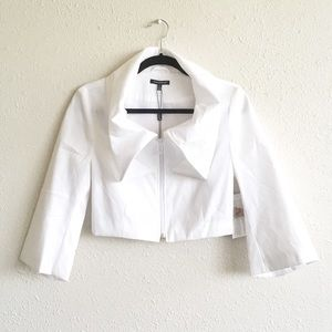 NWT Samuel Dong Cropped Jacket with Tulip Collar